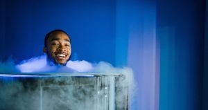 man doing whole body cryotherapy