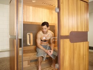 man in infrared sauna