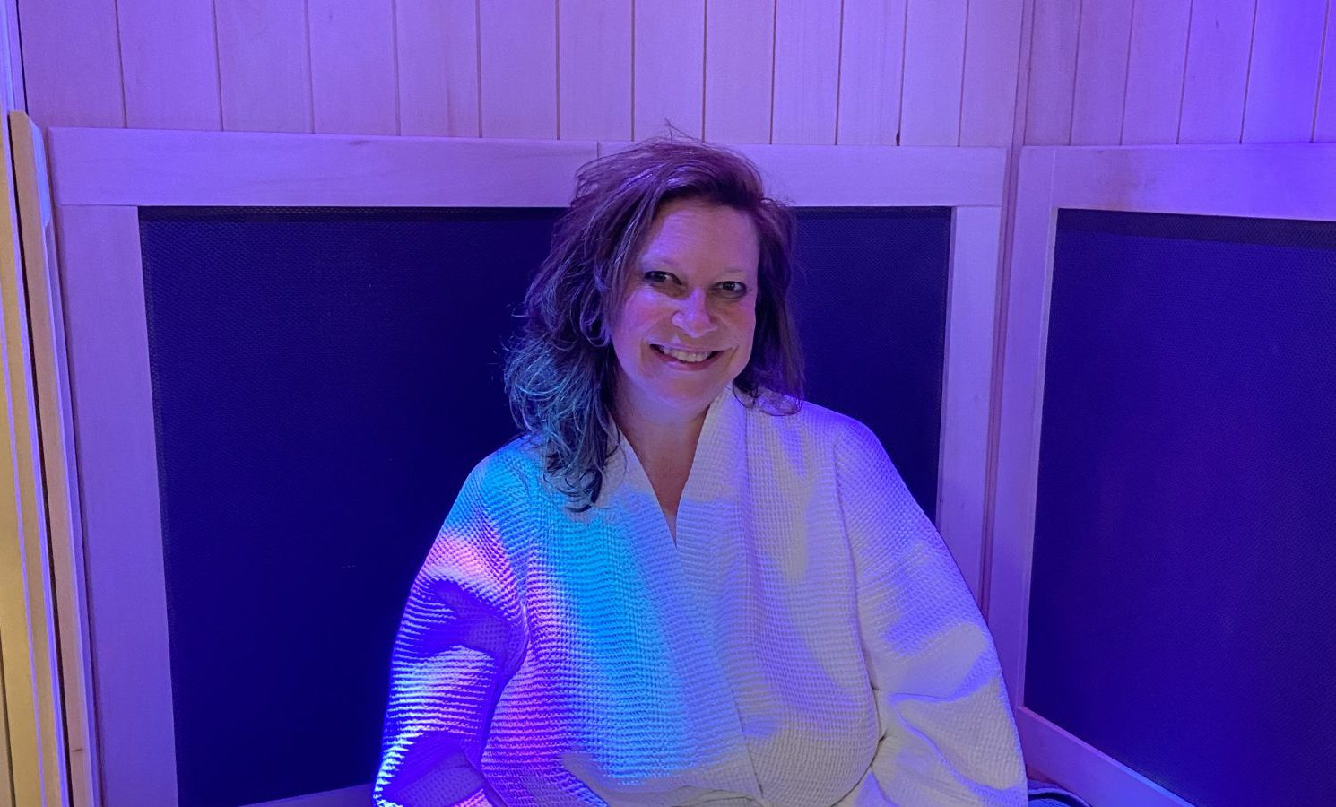 Customer enjoying the infrared sauna at CryoStretch in Knoxville TN